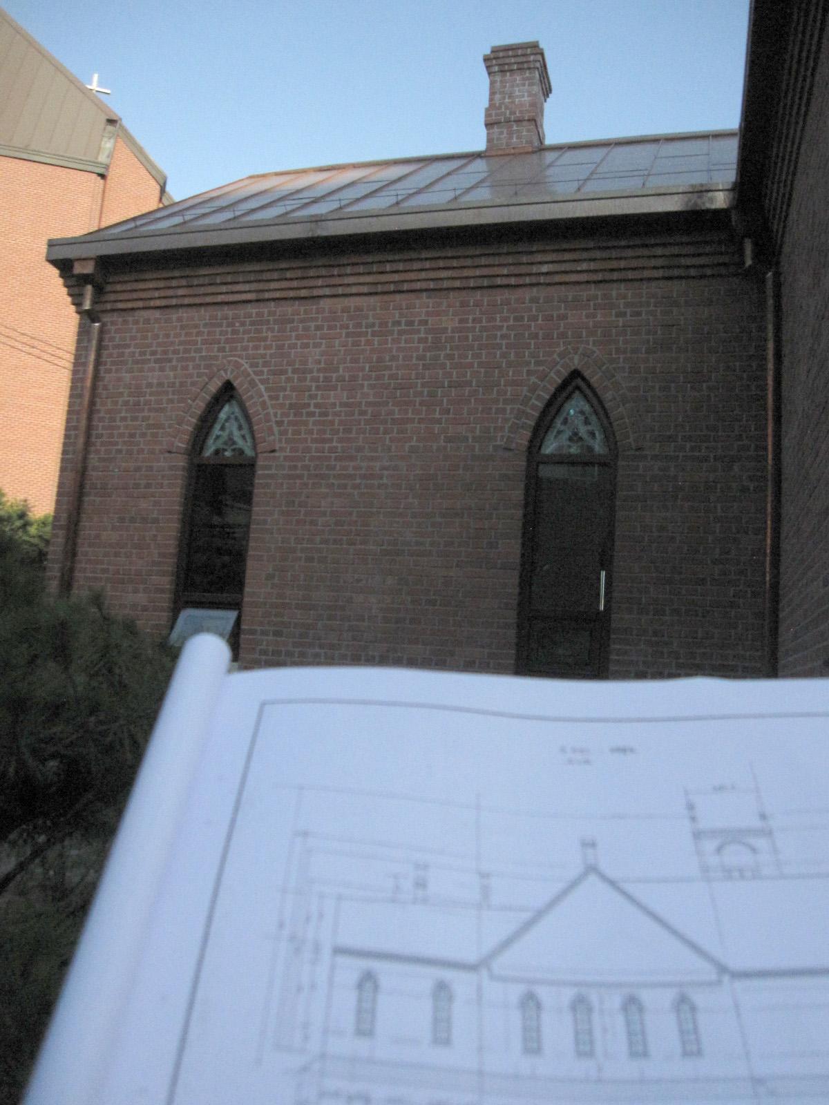 복원기본설계도 작도자 이길극 목사, 시공건물 치수 비교조사, 2012년 9월 21일(금)
